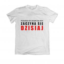 Koszulka z nadrukiem religijnym przyszłość nie zaczyna się jutro  wzór - 7