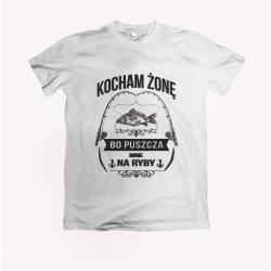 Koszulka dla wędkarza: Kocham żonę bo puszcza mnie na ryby - wzór 18
