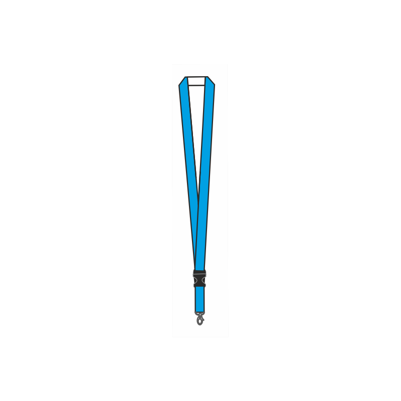 Smycz reklamowa jednostronnie drukowana z klamerką łączącą z karabińczykiem 15mm