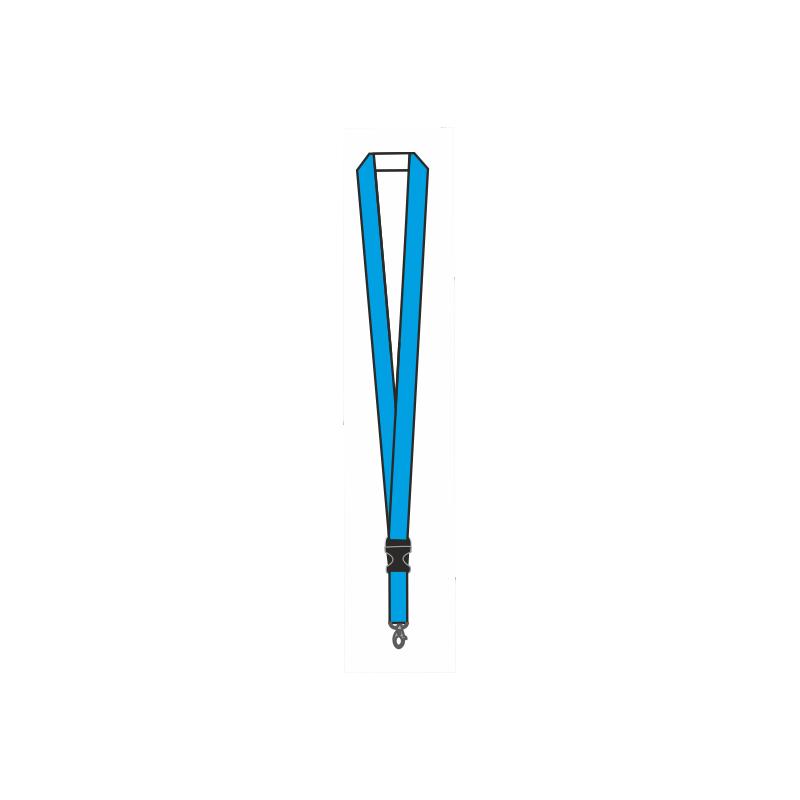 Smycz reklamowa jednostronnie drukowana z klamerką łączącą z karabińczykiem 25mm