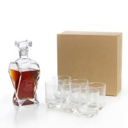 Zestaw prezentowy do whisky z grawerem. Karafka i 6 szklanek